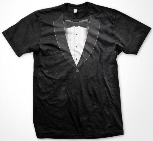 Formal Black Tie Tuxedo Mens T-shirt Funny Trendy Gag Fake Tux Bow Tie Mens Shirt X-Large Black