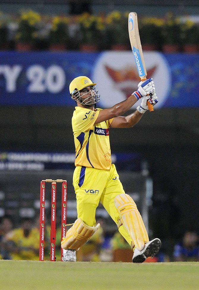 Mahendra Singh Dhoni hits a six against Sunrisers Hyderabad on Thursday