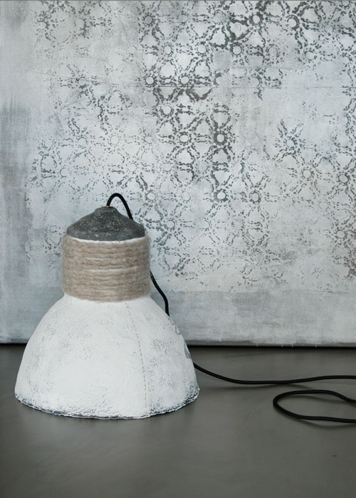 Lamp of paper pulp and felt