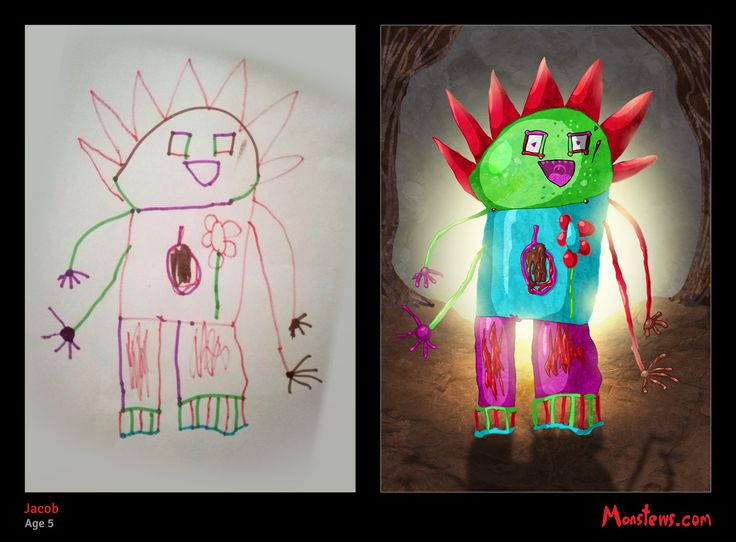 Original by a 5 year old, then a little digital wizardry and voila! A Monstew. Click to view the speed draw.