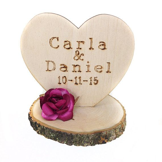 Custom Rustic Wedding Cake Topper by weddingcollectibles on Etsy