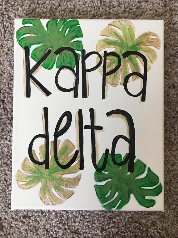 READY TO SHIP $15 Palm Leaves Kappa Delta Sorority Canvas Customizable
