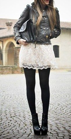 Leather jacket, cream lace skirt, black tights and booties