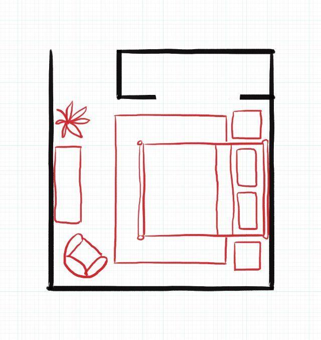 Small Bedroom Layout  Queen Bed