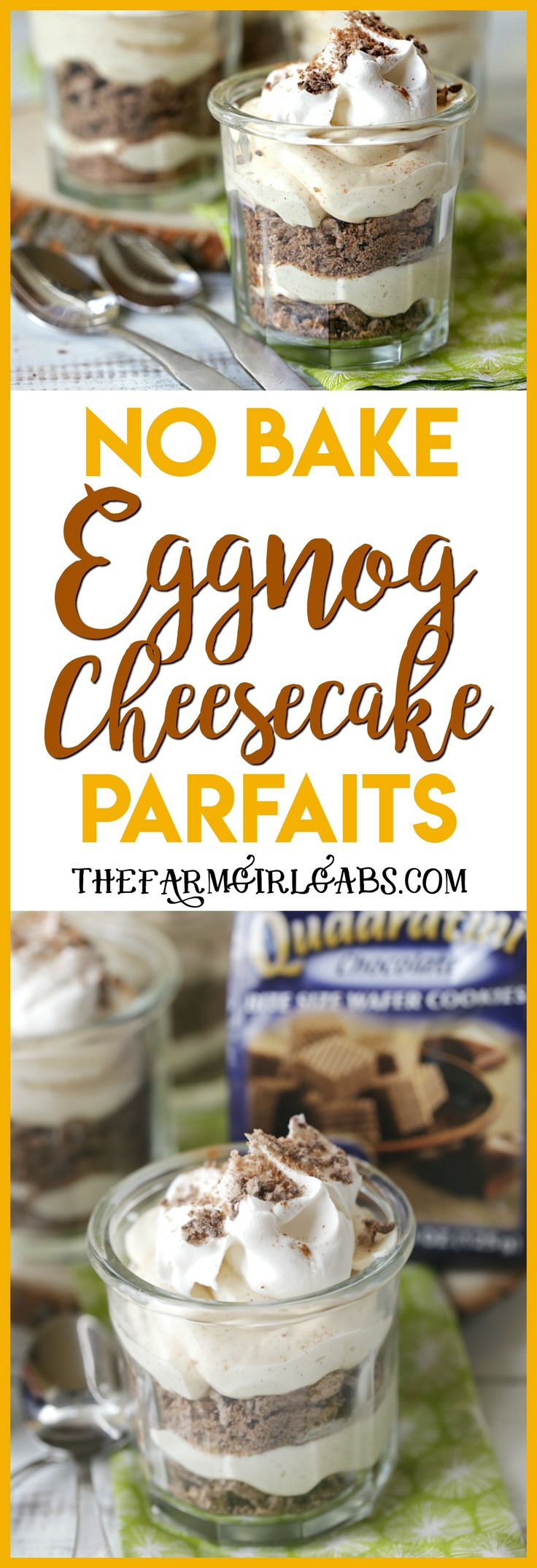 Tempt your holiday tastebuds with the easy recipe for Eggnog Cheesecake Parfaits. Whip a few up for your holiday celebration. #Ad #loackerlove #dessert #christmasrecipes #nobakedessert