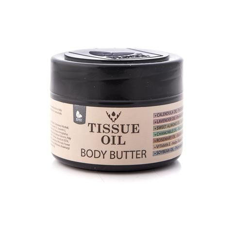 Tissue Oil Body Butter. INTENSIVE NOURISHMENT    Body Butter promotes cell regeneration and blood circulation, which in turn rejuvenates troubled and ageing skin. Body butters are suitable for all ages and skin types and are heavier in texture than a body lotion - highly recommended for people with dry skin. Available online from GoodiesHub.com
