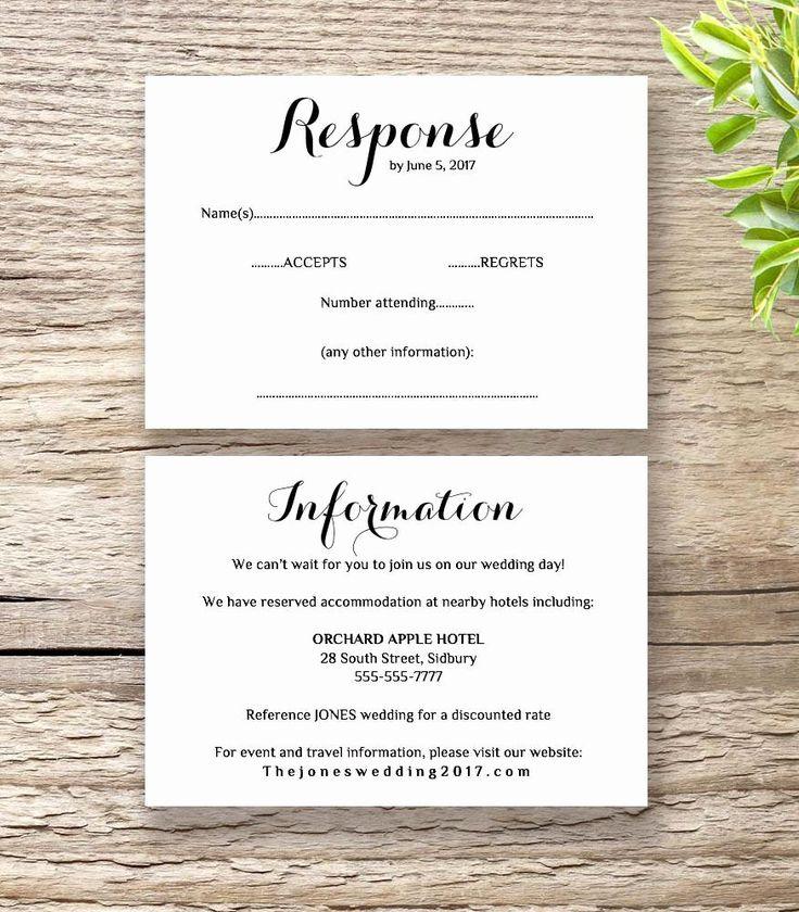 Free Wedding Accommodation Card Template
