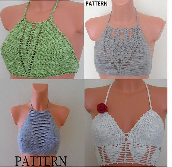 Check out this item in my Etsy shop https://www.etsy.com/listing/268332725/crochet-haltertop-pattern-crochet-bikini