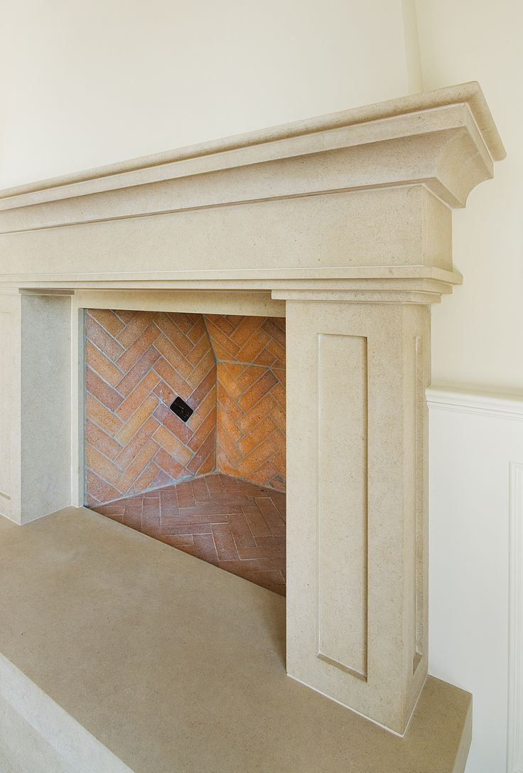 Limestone Fireplace Mantel W Brick Herringbone Pattern Firebox Design Inspiration Pinterest