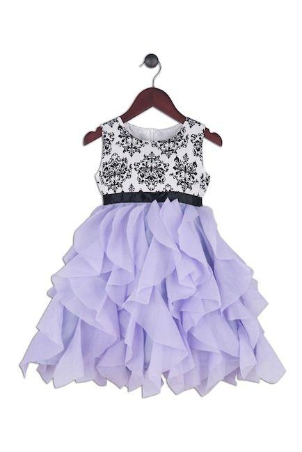 fc58236ddbb9fa Joe-Ella Lilac Waterfall Chiffon Tiers Print Bodice Dress (Toddler   Little  Girls)