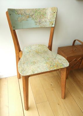 map glued to wood chair.Decor, Ideas, Mod Podge, Vintage Maps, Maps Chairs, Old Maps, Old Chairs, Diy, Crafts
