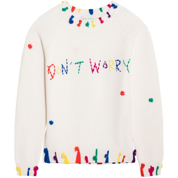 Mira Mikati Don't Worry tasseled merino wool sweater (520 AUD) ❤ liked on Polyvore featuring tops, sweaters, ivory, multi colored sweater, embellished tops, white sweater, embroidered sweaters and merino sweater