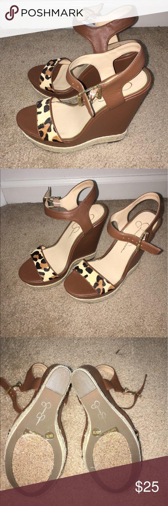 Jessica Simpson wedges Beautiful cognac/cheetah wedges never worn out before Jessica Simpson Shoes Wedges
