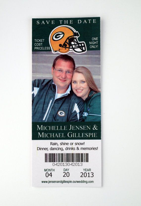 Wedding Save the Date  Green Bay Packers Ticket by ericksondesign, $1.50