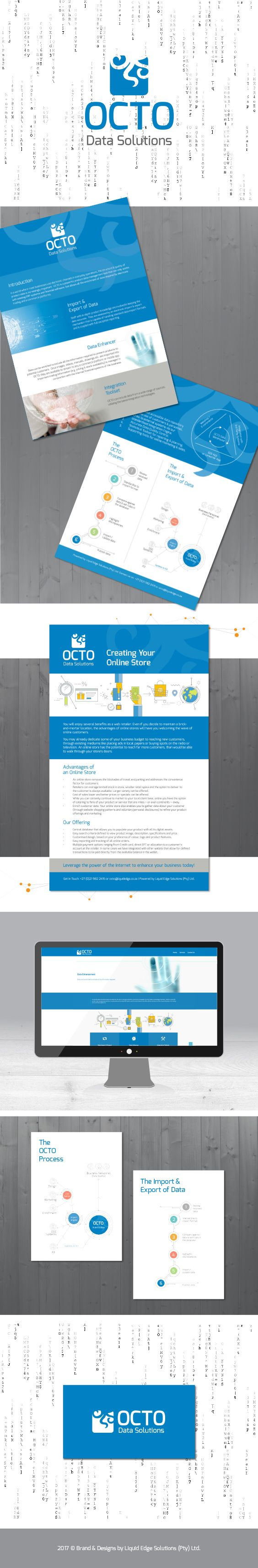 The OCTO Data Solutions brand, a fresh professional look & feel. Included the design of the logo, one-page leaflet, emailer leaflet, diagrams & website. Colour scheme white, blue & grey.