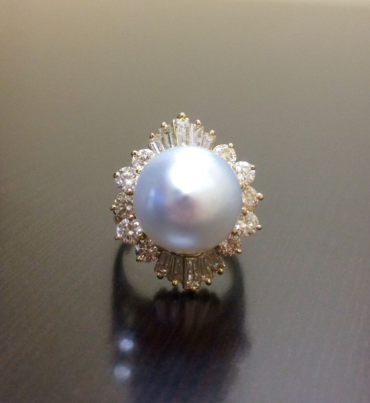 14K Yellow Gold Pearl Diamond Engagement Ring - Art Deco 14K Gold Pearl Diamond…