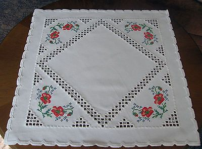 Beautiful Hardanger Embroidered Tablecloth Poppies New 100 Handmade   eBay