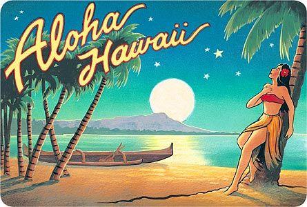 Hawaiian Vintage Postcard - Aloha Hawaii (Moon) - Kerne Erickson