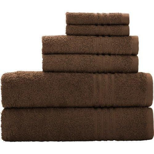 Costa Brown Stripe Border Textured Towel Set 30 X 54 Bath Towels Light Brown Solid Color Soft Absorbent Classical Fade Resistant Durable Elegant Modern Stylish Cotton