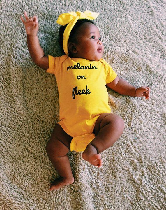 Melanin on fleek yellow onesie