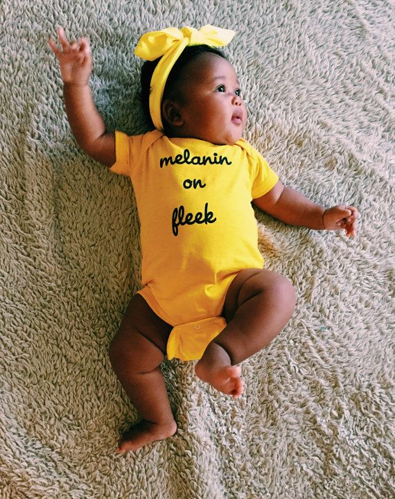 Melanin on fleek yellow onesie by WorldwideBaby on Etsy