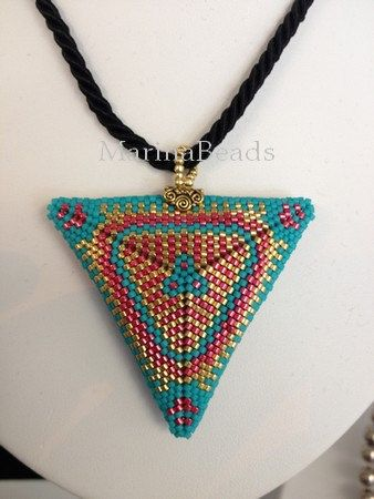 PATTERN Puffy Triangle Pendant by MarinaBeads06 on Etsy
