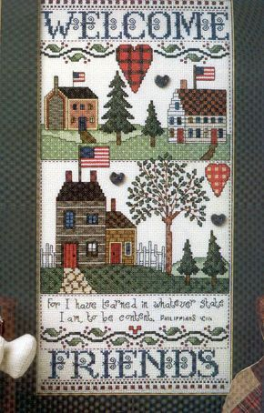 Schema punto croce Country Sampler Welcome 01