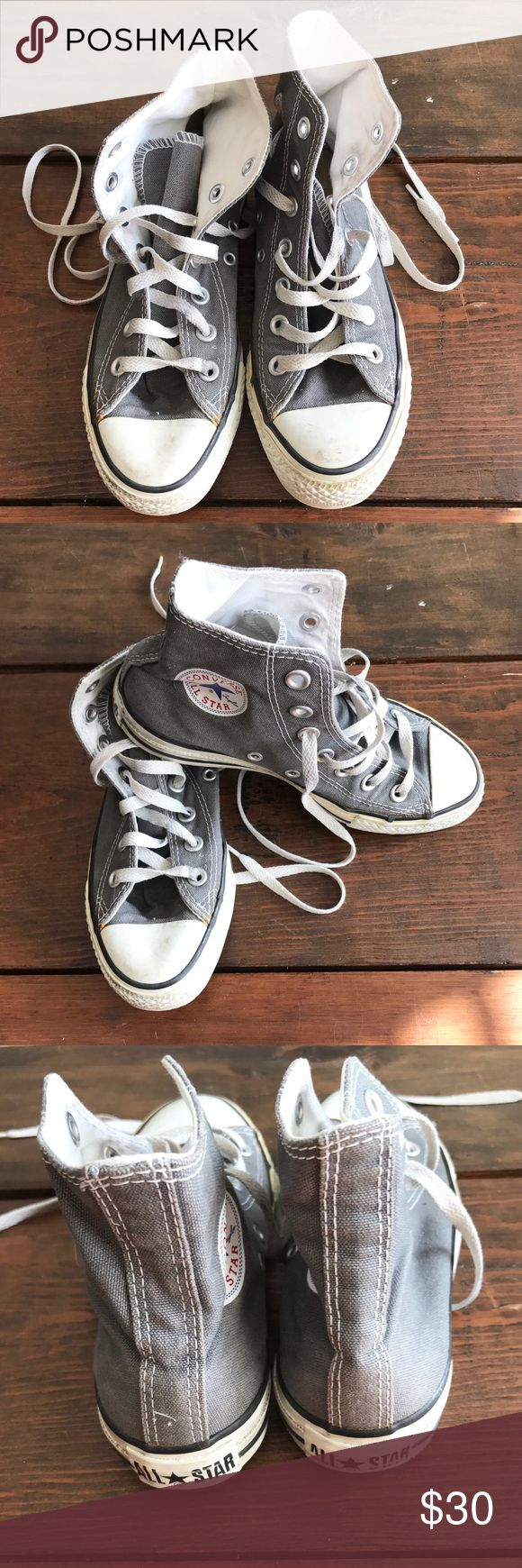 All Star Converse High Top Sneakers All Star Converse High Top Sneakers Gray Women's size 5. Good condition. Converse Shoes Sneakers