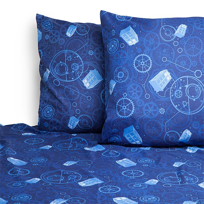 Blue With Floating TARDISes, Gears, And Some Circular Gallifreyan, This Doctor  Who Microfiber Part 92