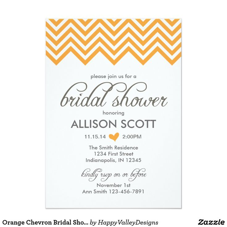 Orange Chevron Bridal Shower Invitation