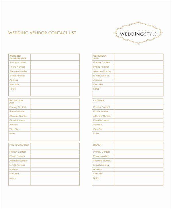 Wedding Vendor Contact List Template Inspirational 8 Vendor List Templates Pdf Doc Wedding Vendors List Template Contact List