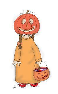 Free Dearie Dolls Digi Stamps: Pumpkin Head Trick or Treat