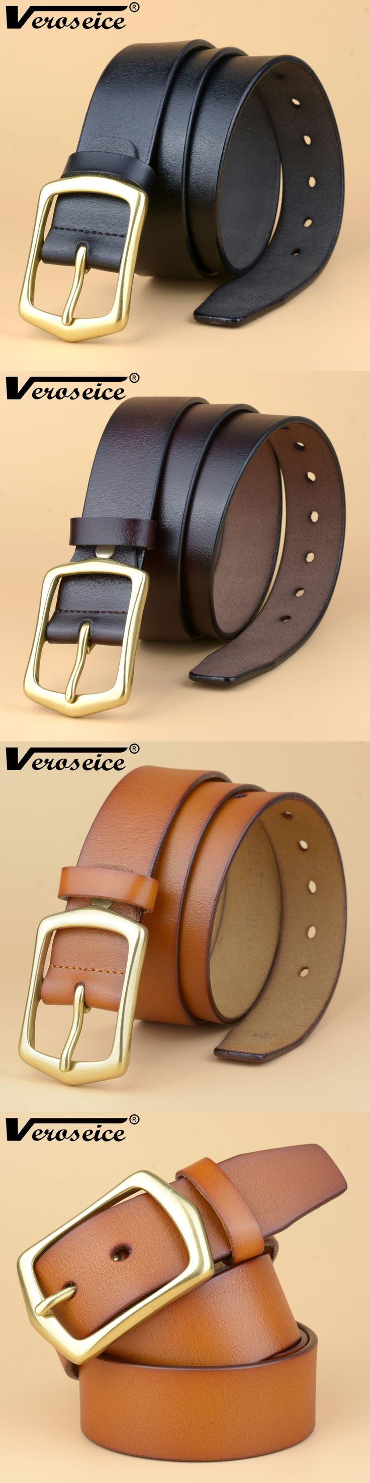 [TG] New genuine Leather Good Quality business mens belt luxury Designer Brass Buckle Male Belts For Men Jeans cowboy belts