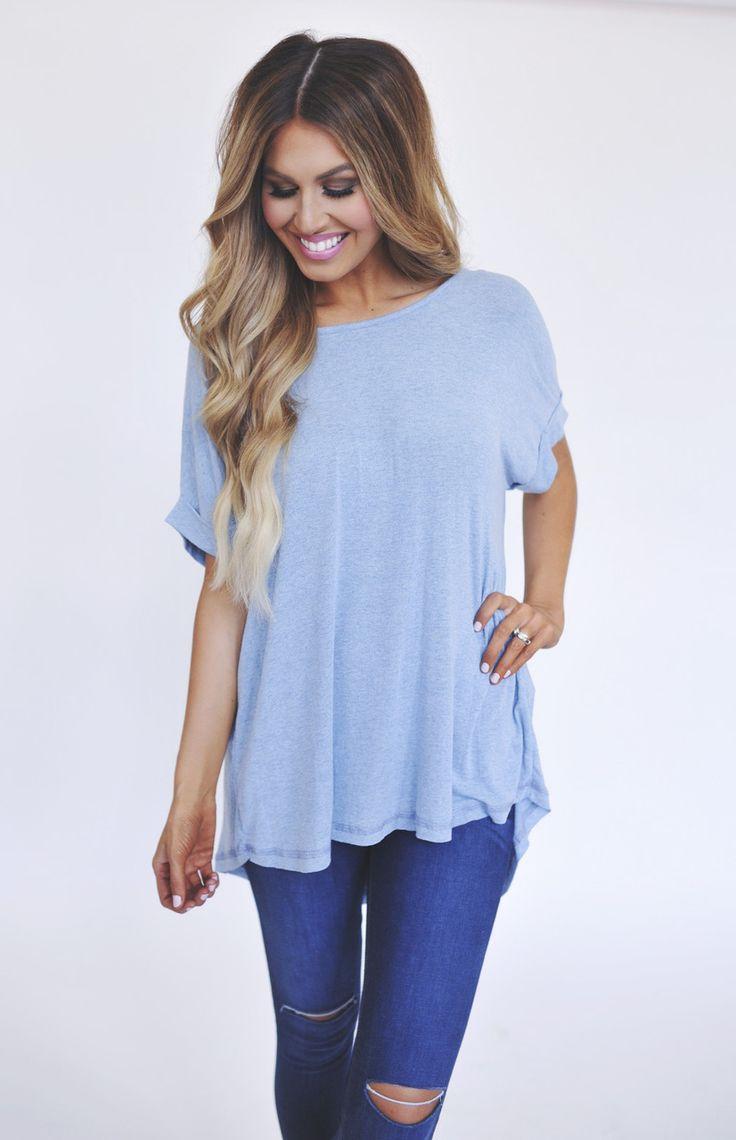 Soft Cuffed Sleeve Tunic - Light Blue https://www.pinterest.com/niecorme/pins/