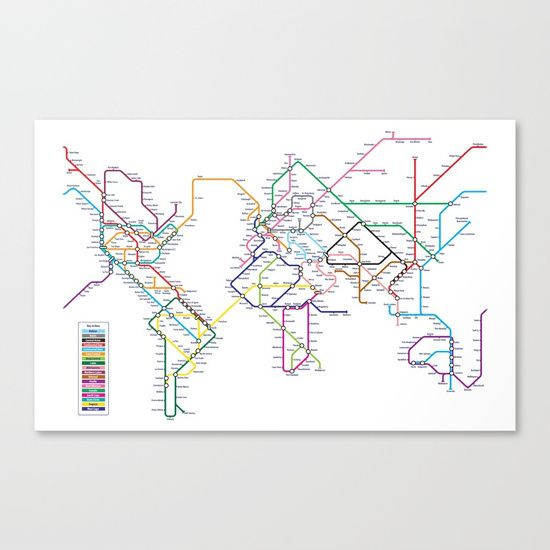 World Map in iconic style of a Tube / Metro / Subway / Underground System Map.<br/> <br/> An interpretation of a World Metro Map, with cities around the world linked in the style of a metro system map. The design leans towards the realistic style (New York Subway Map) while keeping elements of the schematic style (London Underground Tube Map), making it visually appealing whilst still maintaining the shapes of the continents.