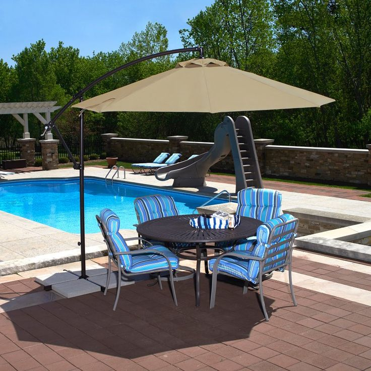 Island Umbrella Santiago 10 ft. Octagonal Cantilever Sunbrella Umbrella - NU6400B