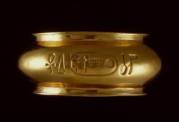 "Egyptian armband, gold Ancient Egypt inscription ""  Bracelet, inscription, Thutmose III .""  Rijksmuseum van Oudheden, Europe."