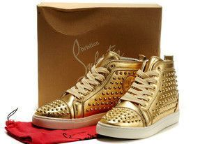 Christian Louboutin Louis Studded Sneakers Gold Red Bottom Shoes [CL Shoes 1788] - $168.00 : Christian louboutin studded