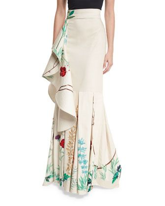 """Johanna Ortiz """"Cicilia"""" floral-print stretch-sateen skirt. High-rise wide banded waist. Waterfall ruffle cascades down side. Mermaid silhouette. Train at back. Hidden back zip. Cotton/spandex. Made in"""
