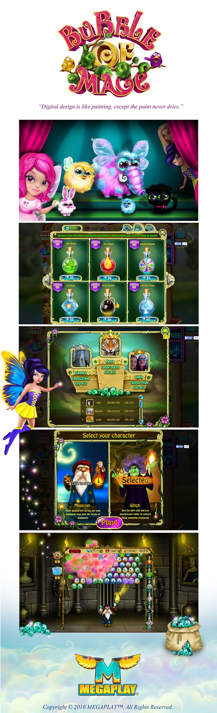 "Game GUI & and characters assets for Facebook puzzle game ""Bubble Of Mage""."
