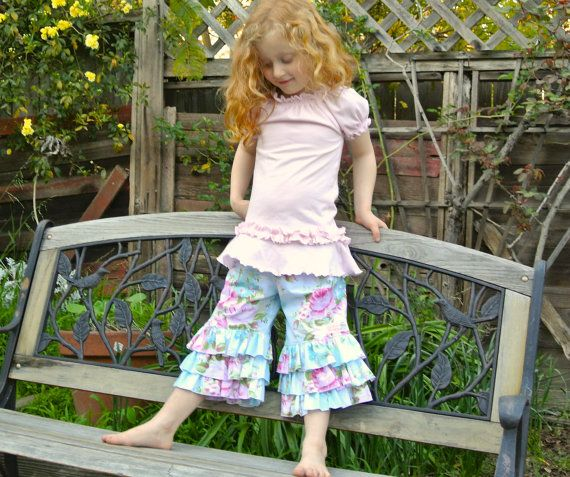SALE..Buy 2 get 1 Free..Instant Download Sewing Pattern World's Cutest Girl's Triple Ruffle Capri or Full Length Pants, 3-6 M to 8