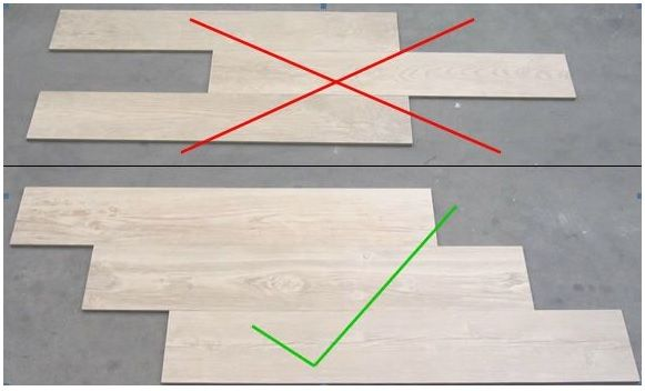 How to tile wood look tiles in brick format the correct way