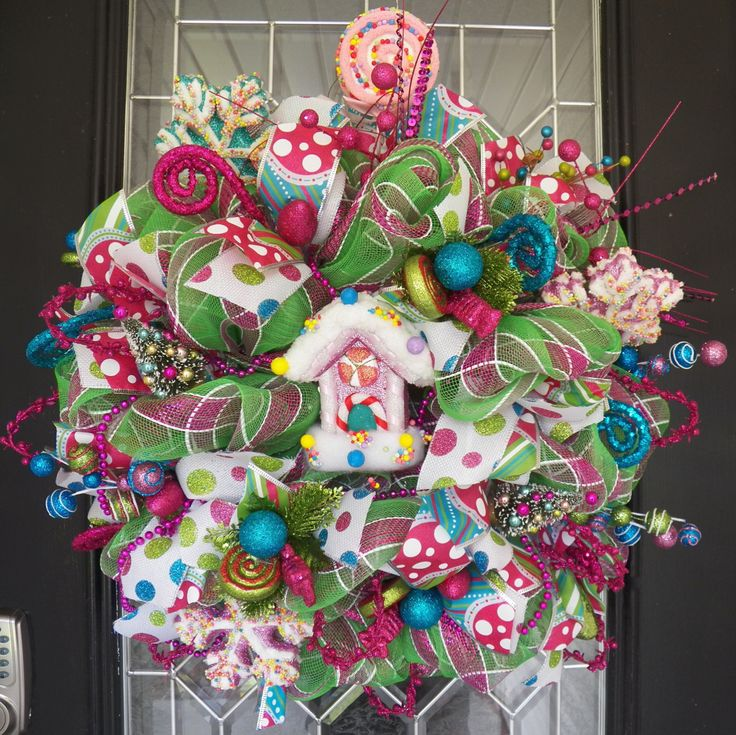 Whimsical Christmas Wreath, Decoration, Wreath for door, front door wreath, Christmas Decoration, Holiday Wreaths, Ready to Ship by OccasionsBoutique on Etsy