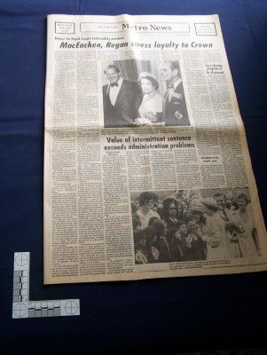 Newspaper coverage of the 1976 royal visit by Queen Elizabeth II & Prince Philip. James House Museum collection, Bridgetown