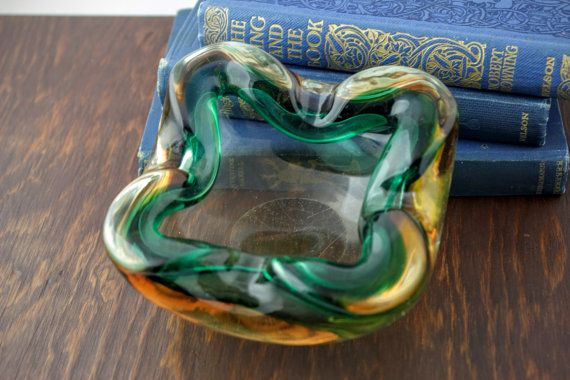 Vintage Green Orange Glass Ashtray  Amber Art by LoAndCoVintage