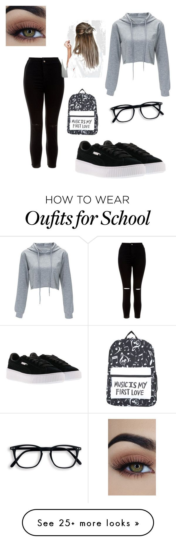 """""""School"""" by thamires-silva-i on Polyvore featuring New Look and Puma"""