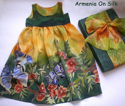 """Одежда для девочек, ручной работы. Ярмарка Мастеров - ручная работа. Купить Детское платье """"Бабочка"""". Handmade. Платье для девочки, зеленый"""