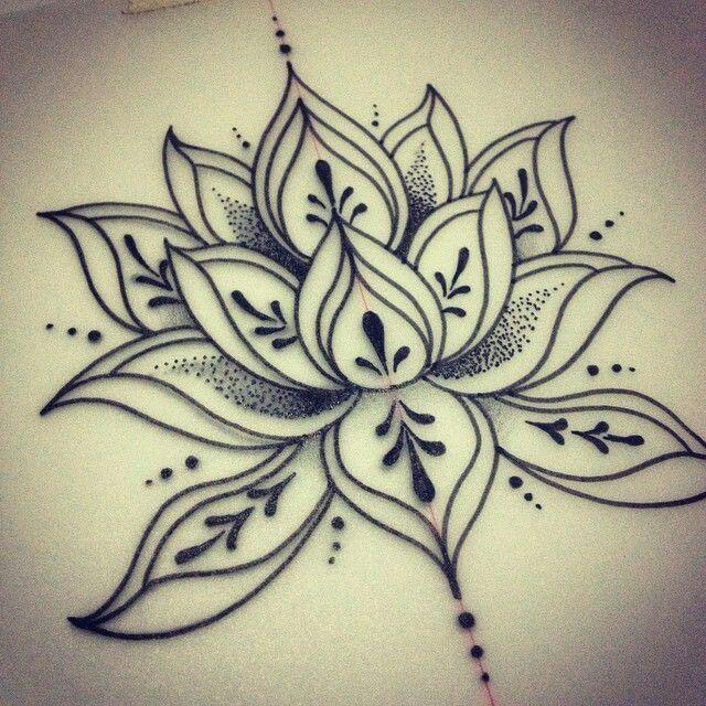 Dotwork lotus flower