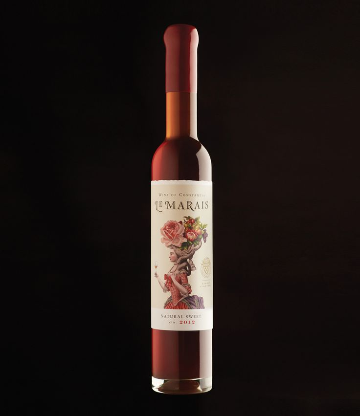 Le Marais Natural Sweet is a dessert wine hailing from Constantia, a suburb of South Africa. Luisa Rheinlander ofManifesto Designwas asked to design  the wine label.Her label design prominently features an elaborate and decadent illustration of a woman bearing tropical fruits, intertwined with an equally elaborate style.