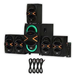 Acoustic Audio AA5210 Home 5.1 Speaker System with Bluetooth LED & 4 Ext. Cables | eBay